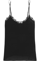 Anine Bing Lace Trimmed Washed Silk Camisole Black