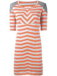 Maison Martin Margiela Mm6 Shoulder Detail Striped Dress Yellow Orange