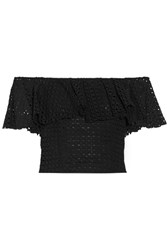 Philosophy Di Lorenzo Serafini Off The Shoulder Cropped Ruffled Broderie Anglaise Cotton Top Black