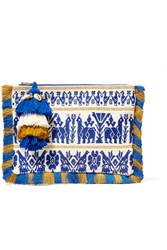 Figue Maia Tasseled Embroidered Cotton Canvas Clutch Blue Gbp