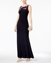 Betsy And Adam Embroidered Illusion Back Gown Navy Aqua Purple