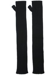 Dolce And Gabbana Ribbed Fingerless Long Gloves Black