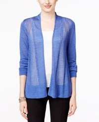 Alfani Mixed Stitch Open Front Cardigan Only At Macy's Alf Pery Blue