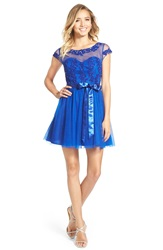 Steppin Out Cap Sleeve Skater Dress Electric Cobalt