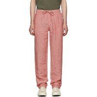 Onia Red Linen Carter Trousers