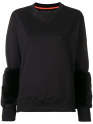 Mr And Mrs Italy Fur Cuff Fitted Sweater Black