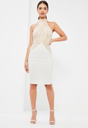 Missguided White Lace High Neck Contrast Midi Dress