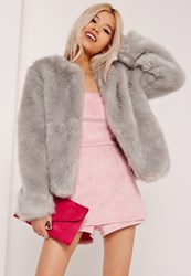 Missguided Collarless Short Faux Fur Coat Grey