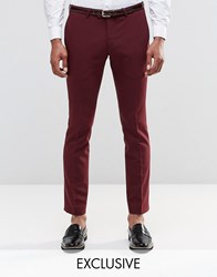 Noose And Monkey Super Skinny Trousers In Cotton Sateen Plum Red