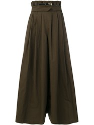 Capucci Flared Maxi Skirt Cotton Polyamide Polyester Spandex Elastane Green