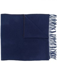 Brunello Cucinelli Two Tone Fringed Scarf Blue