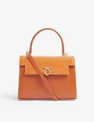 Launer Judi Lizard Leather Tote Orange