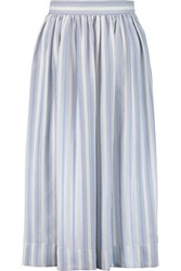 Temperley London Mitka Striped Pleated Silk Midi Skirt Blue