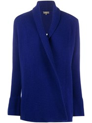 N.Peal Ribbed Panel Cashmere Cardigan Blue