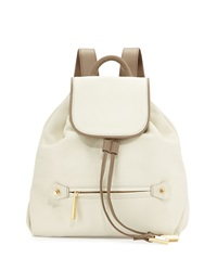 Halston Heritage Two Tone Leather Flap Top Backpack Bone Ash