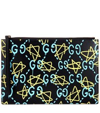 Guccighost Printed Leather Clutch Black