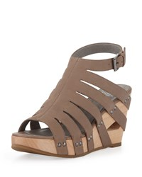 Pelle Moda Lotus Strappy Wedge Sandal Taupe Brown