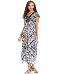 Style And Co. Beaded Neck Mosaic Print Maxi Dress Timeless Decor