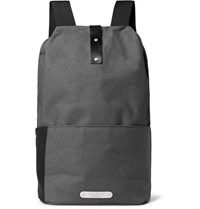 Brooks England Dalston Leather Trimmed Canvas Backpack Gray