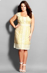 Plus Size Women's City Chic Limoncello' Lace And Eyelet Fitted Dressdress