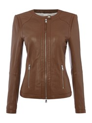 Oui Collarless Perforated Leather Jacket Brown