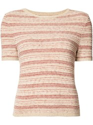 Alice Olivia Striped Shortsleeved Knit Top Pink Purple
