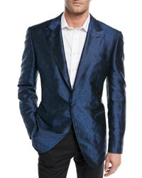 Stefano Ricci Textured Pattern Silk Dinner Jacket Blue