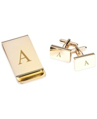 Bey Berk Monogrammed Gold Plated Rectangular Design Cufflinks And Money Clip Gift Set