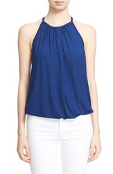 Women's Trina Turk 'Imma' Bubble Hem Halter Top Blue Lagoon