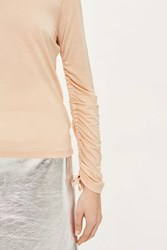 Topshop Ruched Tie Sleeve T Shirt By Boutique Blush