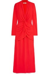 Diane Von Furstenberg Stacia Knot Detail Crepe Maxi Dress Red