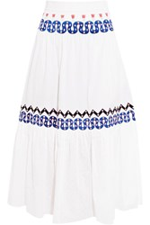 Temperley London Spellbound Embroidered Poplin And Swiss Dot Cotton Midi Skirt White