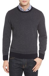 Luciano Barbera Men's Suede Elbow Patch Bird's Eye Cashmere Sweater