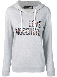 Love Moschino Cheerleader Doll Logo Hoodie Grey