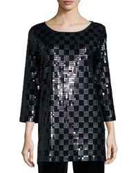 Joan Vass 3 4 Sleeve Square Sequined Tunic