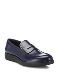 Prada Penny Creeper Leather Loafers Blue