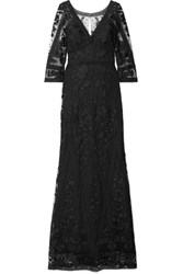 Marchesa Notte Guipure Lace And Embroidered Tulle Gown Black