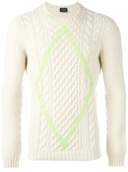 Drumohr Aran Diamond Detail Jumper White