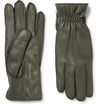 Want Les Essentiels Chopin Cashmere Lined Full Grain Leather Gloves Army Green