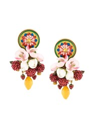 Dolce And Gabbana Decorative Clip On Earrings Berry