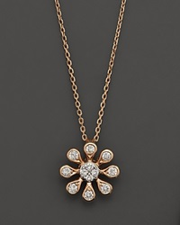 Bloomingdale's Diamond Flower Pendant Necklace In 14K Rose Gold .20 Ct. T.W 16 No Color