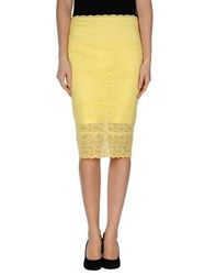 D.Exterior Skirts Knee Length Skirts Women Yellow