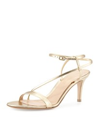 Gianvito Rossi Asymmetric Strappy Leather Sandal Gold Mekong Gold