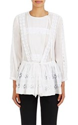 Givenchy Women's Crochet Inset Long Sleeve Top White