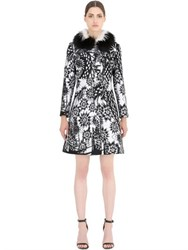 John Richmond Fox Fur And Wool Jacquard Coat