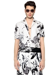 Roberto Cavalli Tropical Print Silk And Cotton Satin Shirt White Black