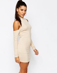 Missguided Cold Shoulder Bodycon Dress Nude Beige