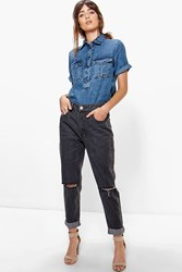 Boohoo High Rise Knee Rips Boyfriend Jeans Grey