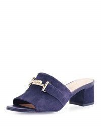 Tod's Suede Double T Mule Pump Navy