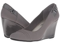 Anne Klein Tee Dark Grey Pewter Fabric Women's Shoes Taupe
